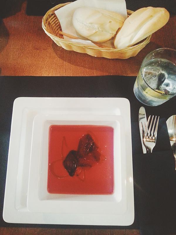 gaspacho de remolacha del restaurante Ateneo de Madrid, Lena Karelova fotografía