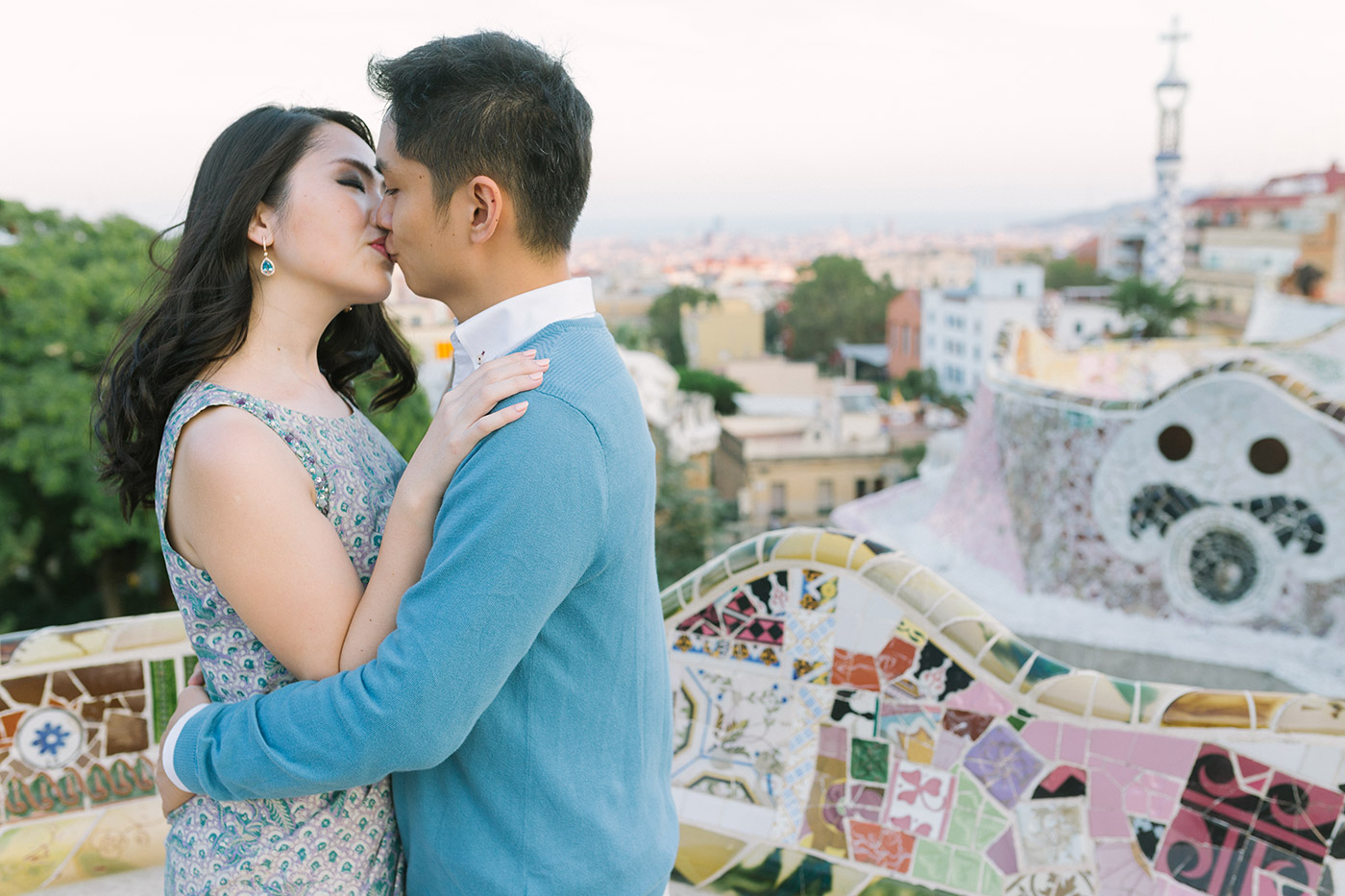 Lovely romantic couple| Elegant pre wedding photoshoot Barcelona |Engagement photographer Barcelona | Park Guell Engagement | Lena Karelova Photography